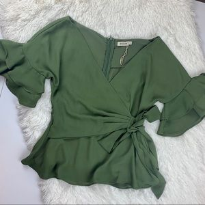 NWOT Essue olive wrap top v neck blouse
